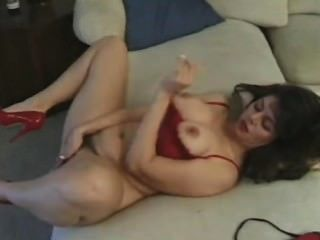 Hairy Mature Has Sex In Red Heels, Then Gets Cum In Her Mouth!