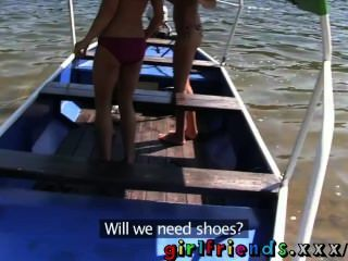 Girlfriends With Perfect Tits Have Hot Public Sex On A Boat