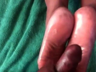 After Footjob Cum On Friends Mom Soles