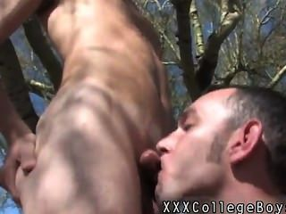 Gay Sex Caiden Arches Against The Tree Masturbating His Cock And Eyeing