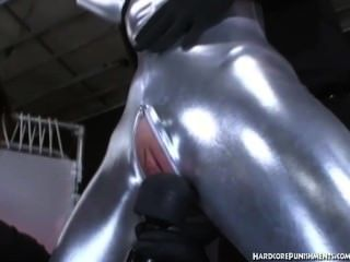 Silver Fullbody Suit And Given Magic Wand Vibrator Treatment