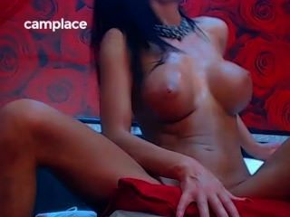 Gorgeous Fake Tits Brunette Live Masturbation