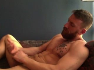 Bearded Tatted Hunk Shoots Load