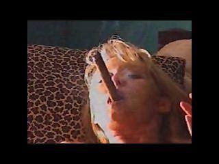 Milf Smoking Cigar While Masturbating