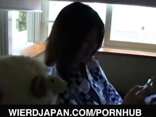 Japanese Av Model Rubs Dick Through Wall
