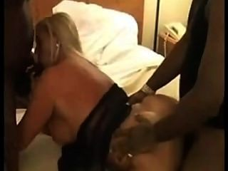 Horny Wife With 2 Black Bulls