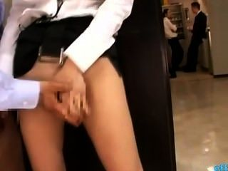 Horny Office Lady Fingered While Standing Jerking Off Guy Cock Cum To Legs