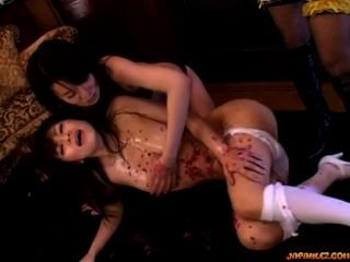 2 Asian Girls Licking Pussies In 69 While Tortured With Hot Wax By The Maid