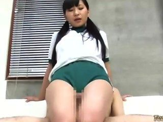 Schoolgirl In Training Dress Rubbing Guy Cock With Legs Guy Cumming To Hims