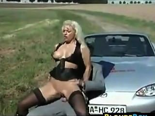 Blonde Whore Getting Fucked Outside