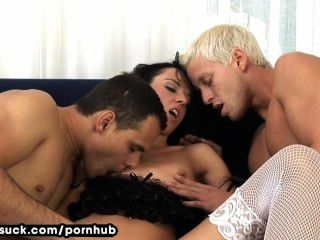 Gina Devine Gets Rough Fuck By 2 Guys