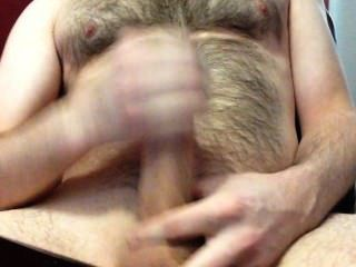 Spraying Hot Cum On My Hairy Chest - Big Cock, Big Load