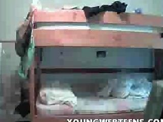 Teen Undressing At Dorm Room - The Webcam Is Online