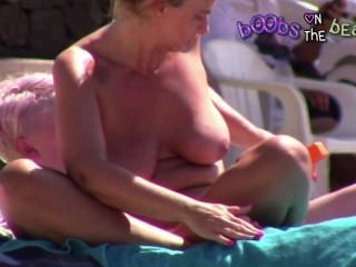 Big Fat Gilf Boobs On The Topless Beach