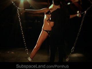 Blonde Slave Chained In Mansard For Bondage Fantasy
