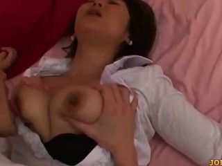 Busty Secretary Getting Her Nipples Sucked Hairy Pussy Licked On The Bed In
