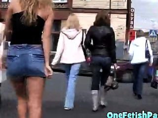 Sexy Blonde Girl In Miniskirt