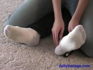 Big Feet, Thin Socks And Bare Tickling
