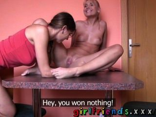 Girlfriends Hot Babes Play Cards Before Hot Steamy Lesbian Sex