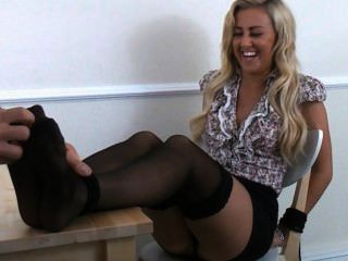 Nylon Covered Feet Tickled