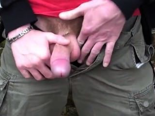 Sucking A Guy In The Forest. Cant Handle His Huge Load .