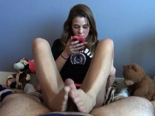 Hot Sister Gives Her Annoying Brother A Footjob