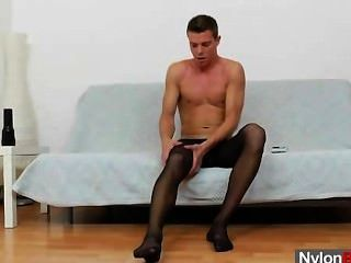 Gay Guy Teasing His Cock In Panty-hose
