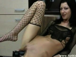 Solo Anal With Huge Dildo Makes Her Belly Move