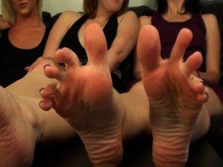 3 Girl Bare Feet Tease