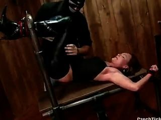 Sexy Girl In Leather Gets Tickled!