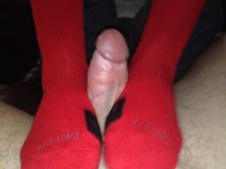Red Nike Sockjob Huge Cumshot