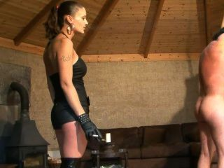 Smoking Mistress Whipping Lucky Slave