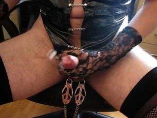 Wanking With Ball Camps Whilst Crossdressing