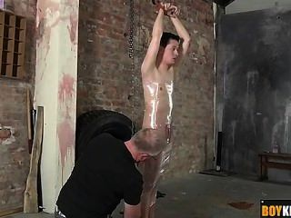 Shaved Twink Getting Wrapped In Plastic And Wanked Hard