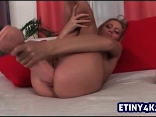 Blonde Huge Dildo Masturbating With Pleasure