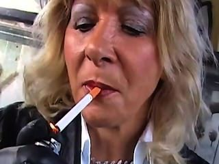Marlene 4-cool Lady Smoking In Full Black Leather.