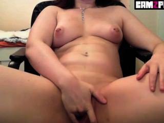 Pierced Sweet Teen Brunette Pussy Fingering