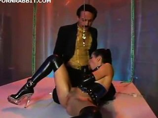 Hot Lady In Latex Gloves And Boots Fucked