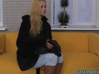 Russian Casting Action With Tiny Blonde