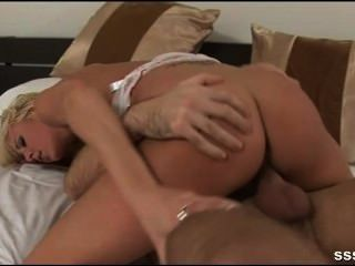 Sexy Blonde Woman Riding Her Lovers Hard Cock