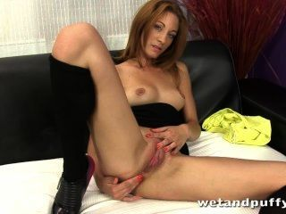 Redhead Enjoys Pumping Her Labia Before Getting Off With A Magic Wand