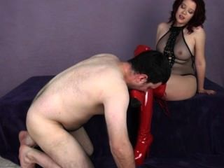 Sarah Blake Femdom Red Boot Worship Thigh High Boots