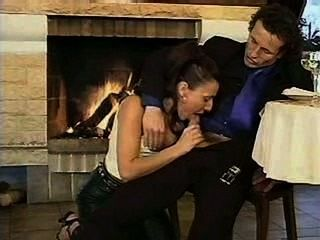 Brunette In Leather Pants Blowjob