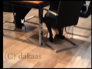 Candid Salesgirl Shoeplay Dipping In Black Nylons Pantyhose Face