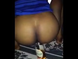 Drunk Girl Fucks Liquor Bottle In Front Of Family & Friends!