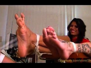 Girls With Big Feet Tickled