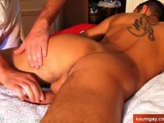 4 Hands Massage To A Huge Cock Of A In Suite Trousers Guy !