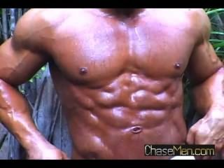 Muscle Latino, Rico, Naked By The Pool