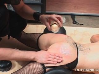 Tied Up Bdsm Slave Cunt Nailed With Sex Toys