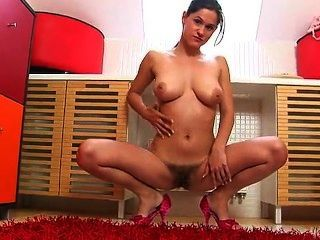 Hairy Woman Viktoria Plays With Herself